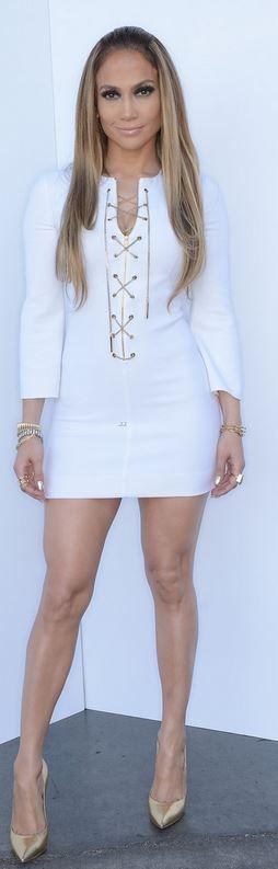 Jennifer Lopez: Dress – Michael Kors  Shoes – Casadei  Ring – Joan Hornig