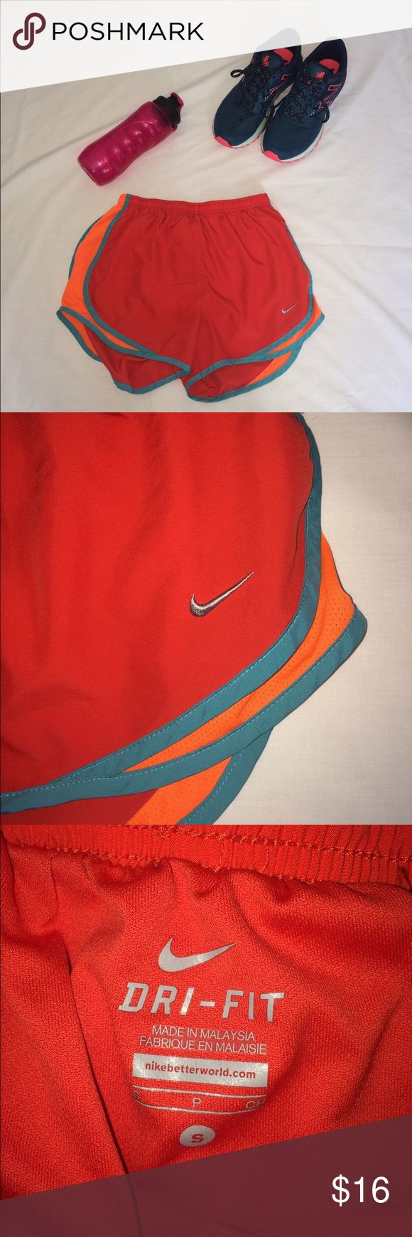 Nike dry fit running shorts Nike running shorts in great condition. Soft fabric with no holes or loose threads. Tag says small but can fit a medium! NWOT! I also do 3+ items 15% bundles and accept reasonable offers  fast shipping guaranteed and customer satisfaction!  Nike Other