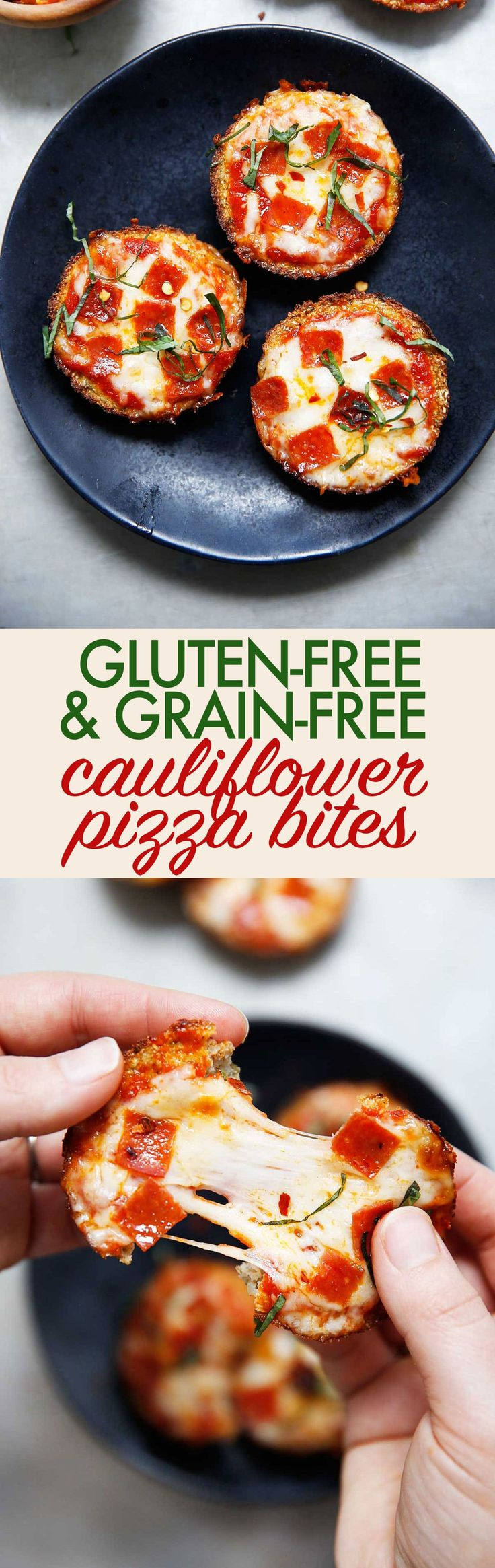 These gluten-free & grain-free Mini Cauliflower Pizza Bites are the PERFECT weeknight dinner, grab-and-go lunch, or party appetizer. This bite-size cauliflower pizza crust recipe can fool even the non-cauliflower lover! They are paleo-friendly if you omit the cheese, and so delicious!