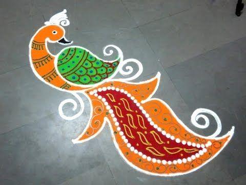 Innovative Peacock rangoli designs,Freehand Peacock Kolam designs - YouTube