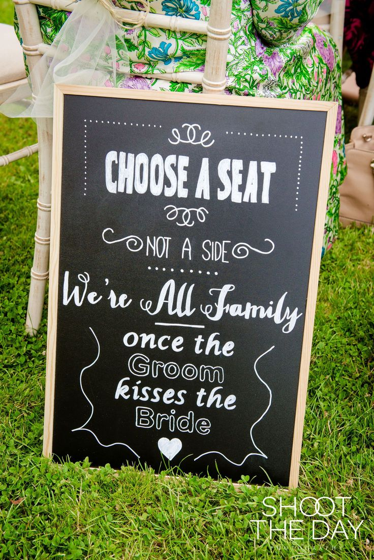 Homemade wedding chalk board display