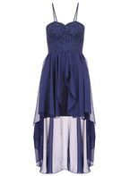Womens *Quiz Glitter Lace Dip Hem Dress- Blue