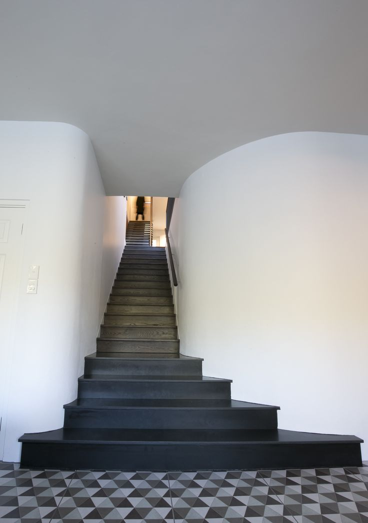 Stairwell down to pool room