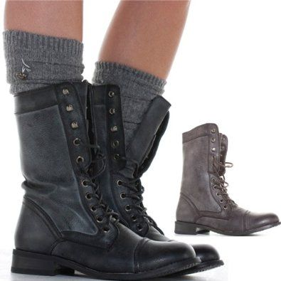 Fantastic Womens Combat Style Army Worker Military Ankle Boots Flat Punk Goth