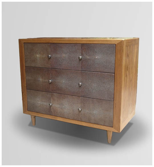 GC 07/10 Three drawers cabinet  H. 70cm, W. 82cm, D. 40cm.  Doors covered with shagreen color chocolate.