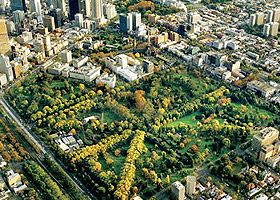 Aerial photo of the Fitzroy gardens. Melbourne #Australia
