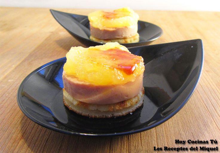 Hoy Cocinas Tú: Medallón de foie y puré de manzana caramelizada sobre blinis