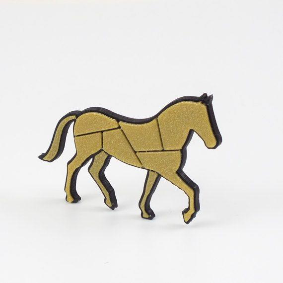 3D printed - Horse negativ black/gold