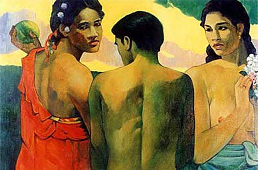 Two women and a man in the middle, Paul Gauguin