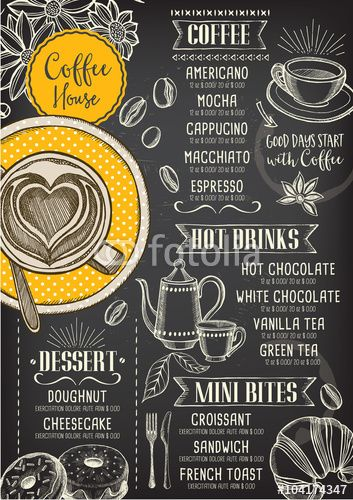 Vettoriale: Coffee restaurant cafe menu, template design.