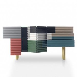 Shanty towns inspire panelled storage  cabinet by Doshi Levien