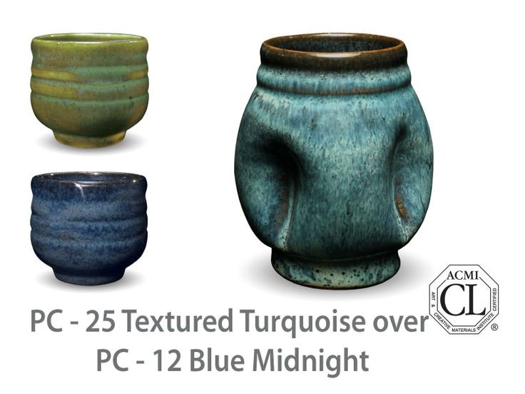 AMACO Potter's Choice layered glazes PC-12 Midnight Blue and PC-25 Textured Turquoise.