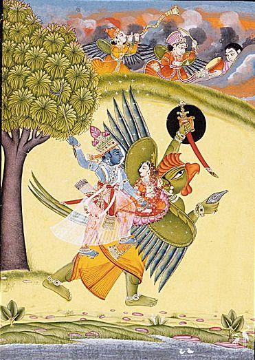 Vishnu and Lakshmi riding The Garuda