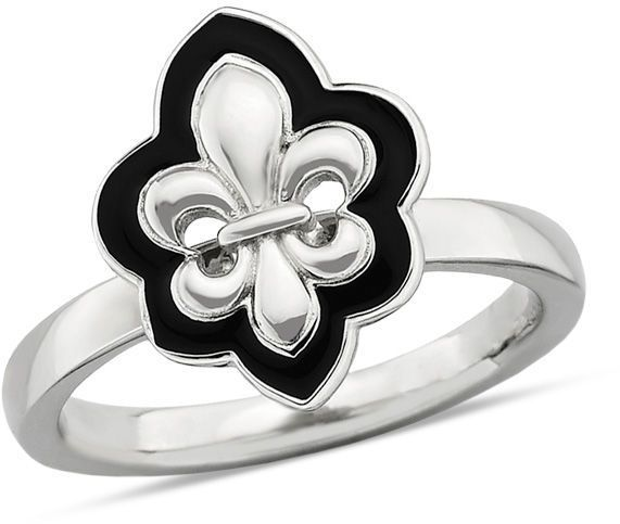 "Zales Stackable Expressionsâ""¢ Fleur-de-Lis Ring in Sterling Silver with Black Enamel"