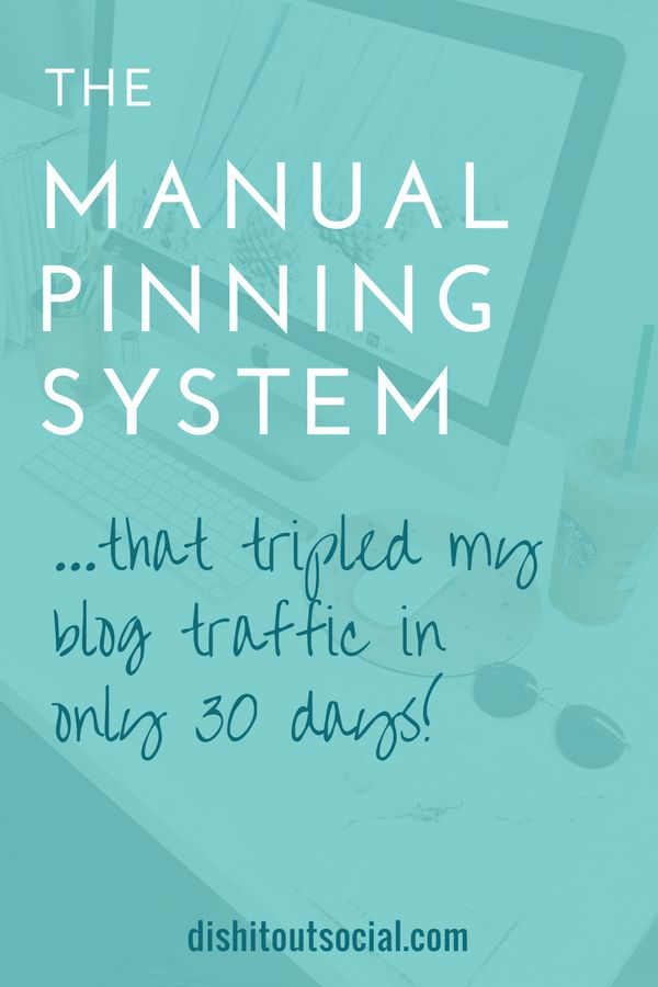 The Manual Pinning System That Tripled My Traffic in 30 Days. If you're a blogger looking to increase your traffic from Pinterest then you might want to give manual pinning a try. This post shows you the insane results I got with a manual pinning system.