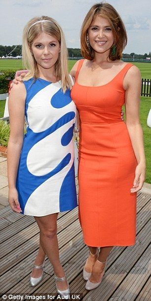 Gemma Arterton turns heads in figure-hugging orange at polo match #dailymail