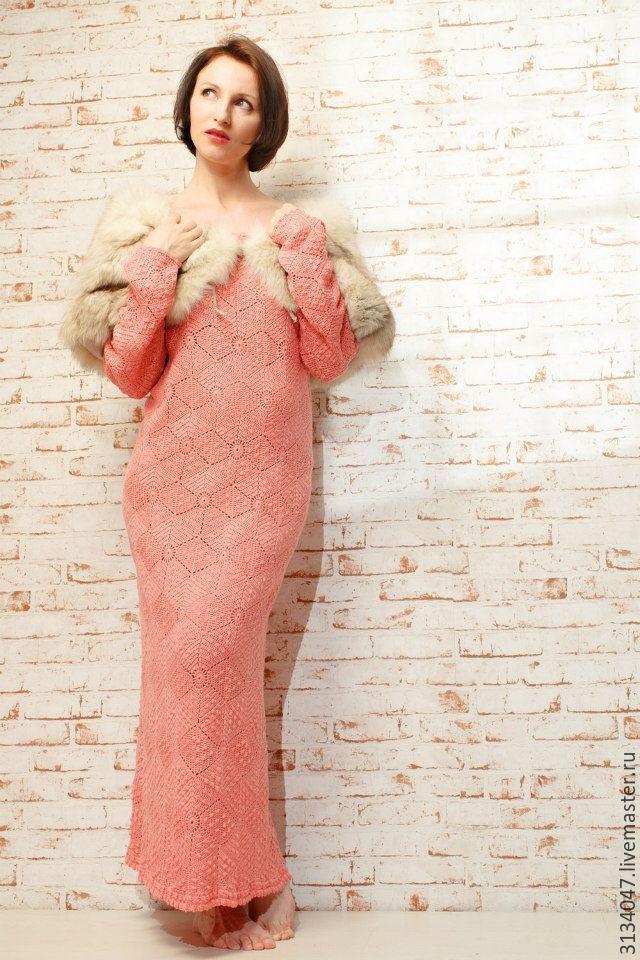 Купить В ожидании мая - кремовый, однотонный, лососевый, теплое платье, зимнее платье