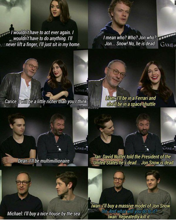 "Game of Thrones cast answers to ""How rich would you be if you got paid everytime someone asks about Kit Harrington or Jon Snow?"""