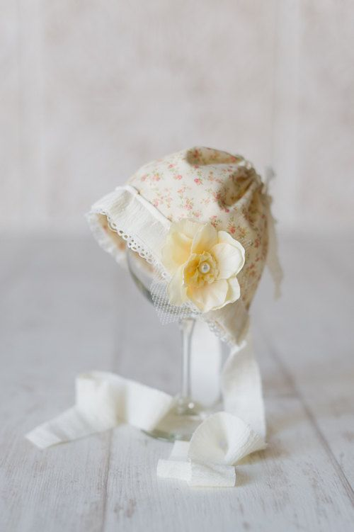 Cream and Yellow. Floral. Newborn Fabric Bonnet. Vintage Style.  $39.00, via Etsy.
