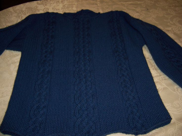 Aran pullover in Brownsheep Naturespun yarn. It took almost 9 months to knit.