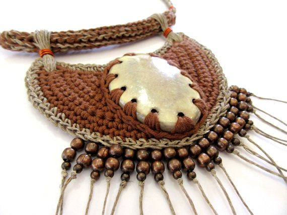 Tribal necklace, africa inspired necklace,native inspired necklace,crochet necklace,fiber necklace,cotton necklace,spring,summer,brown,vegan  A