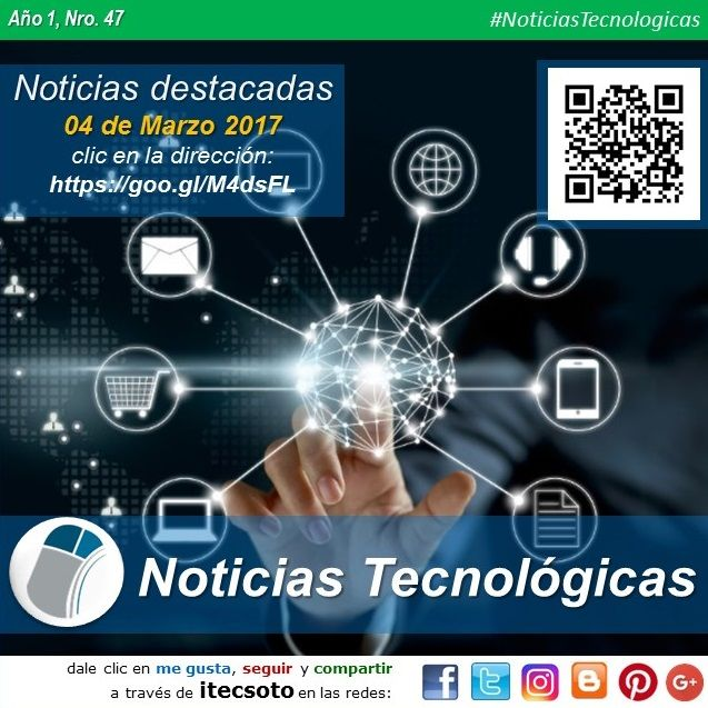 Edición Semanal Nº 47, Año 1 - Noticias Tecnológicas destacadas al 04 de Marzo de 2017...   #FelizSabado #itecsoto #facebook #twitter #instagram #pinterest #google+ #blogger #NoticiasTecnologicas