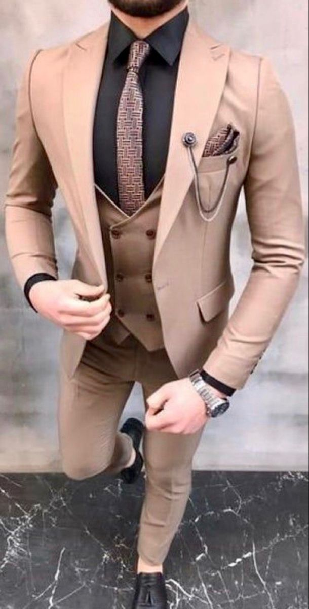 Beige Linen Men Tuxedos Double-breasted Groom Formal Wedding 3 Pieces Suits