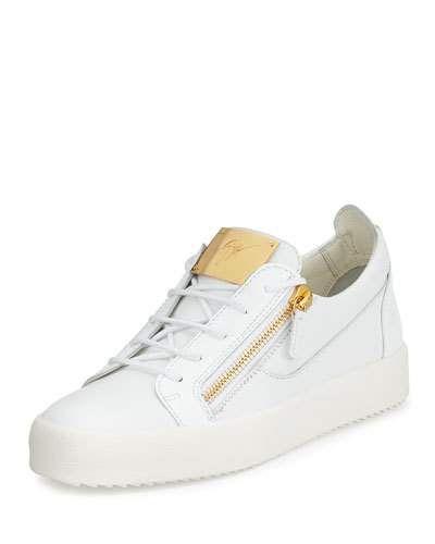 N3LG0 Giuseppe Zanotti Men's Patent Leather Low-Top Sneaker, White