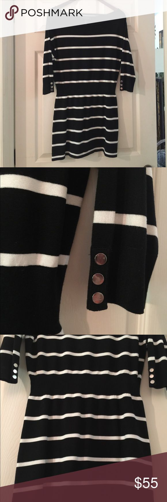 NWOT. White House Black Market Knit Shirt NWOT Black & White striped boat neck shirt that can also be worn dress-style with a pair of bootie shorts. Silver buttons accent the sleeves. Sport  your favorite pair of keds or strappy sandals and you're off! White House Black Market Tops