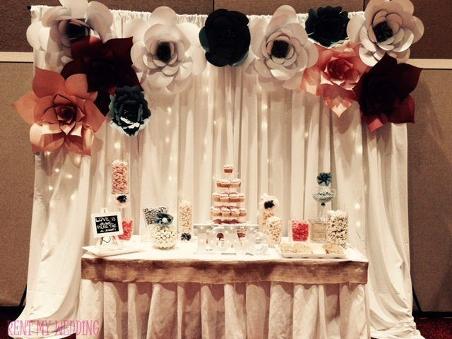 In love with the #paper flowers  #fairylight decor on this #backdrop via @RentMyWedding!