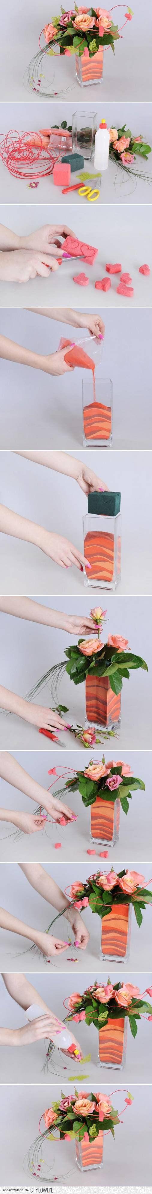DIY Flower Vase with Sand DIY Projects | UsefulDIY.com na Stylowi.pl