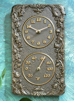Add a Mediterranean touch to your patio with our Acanthus Clock and Thermometer.