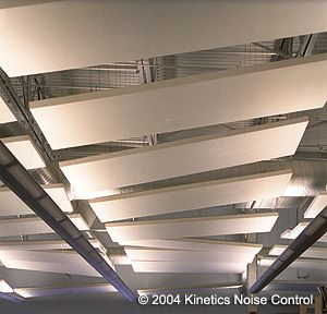 Kinetics Hardside acoustic cloud panels absorb sound.  They can be covered with Guilford FR-701 or custom fabrics.