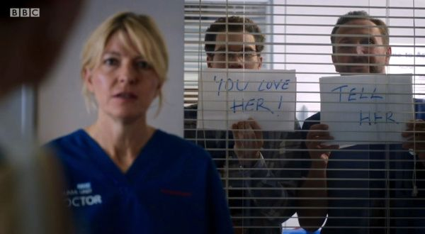 Holby City (19/7) Bernie (Jemma Redgrave) with a bit of support from Jason and Fletch
