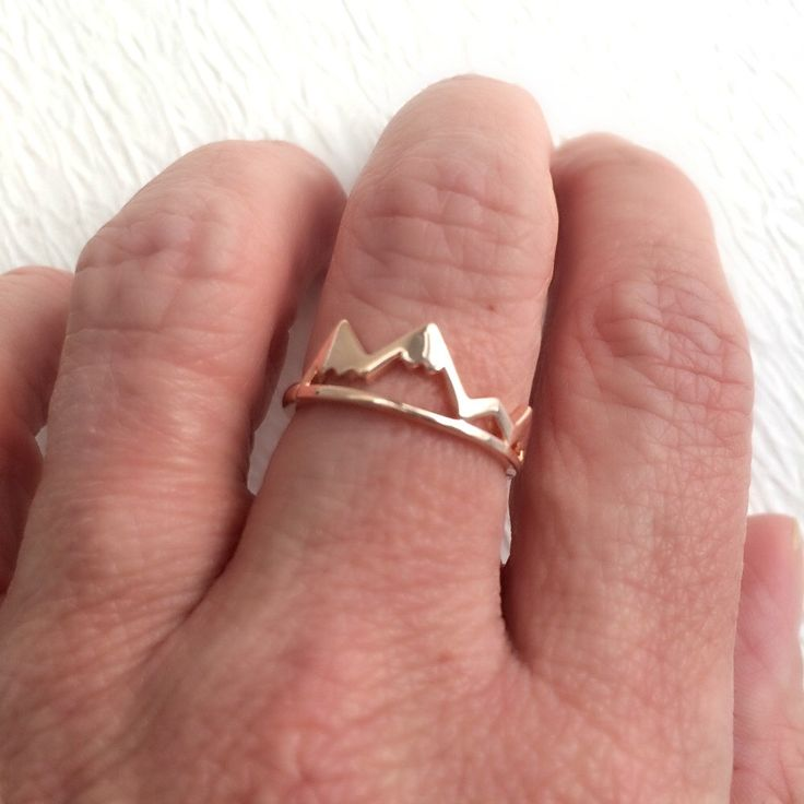 Rose Gold Mountain Ring, adjustable band travel simple delicate mountains hiking hike outdoors skiing ski climbing holiday gift gifts by 3BeadDesigns on Etsy https://www.etsy.com/listing/465878199/rose-gold-mountain-ring-adjustable-band