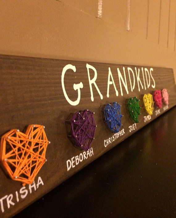 Grandkids String Art Sign- Gift for Grandparents- String Art Display- Gift For All Occasions on Etsy, $12.00