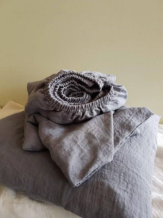Grey linen fitted sheet deep pocket sheets from soft gray