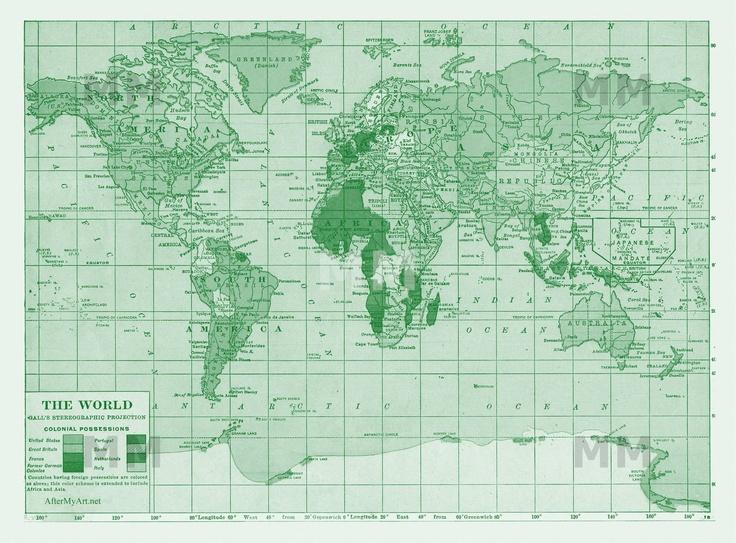 green land masses - love vintage maps by @catherine gruntman Holcombe | Modern Mural