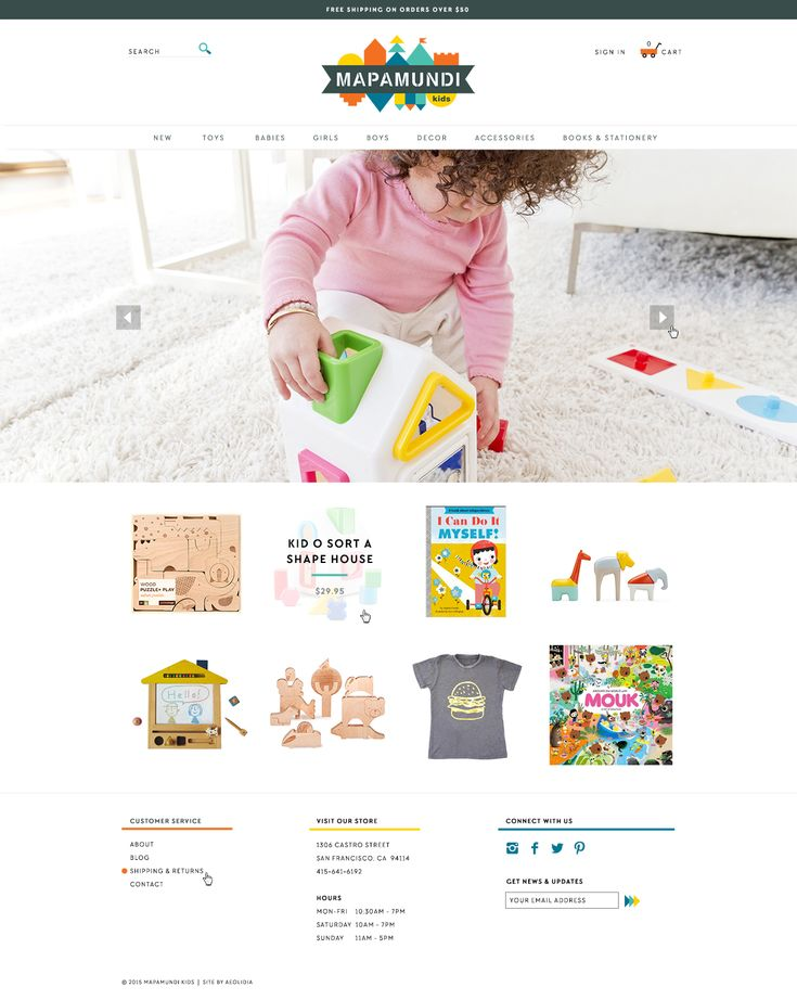 Mapamundi Kids shop homepage- design by Aeolidia