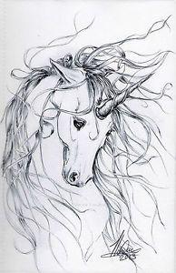 "Unicorn ""Whisper"" Ballpoint / Biro Pen Drawing Original Art by Tanya London"