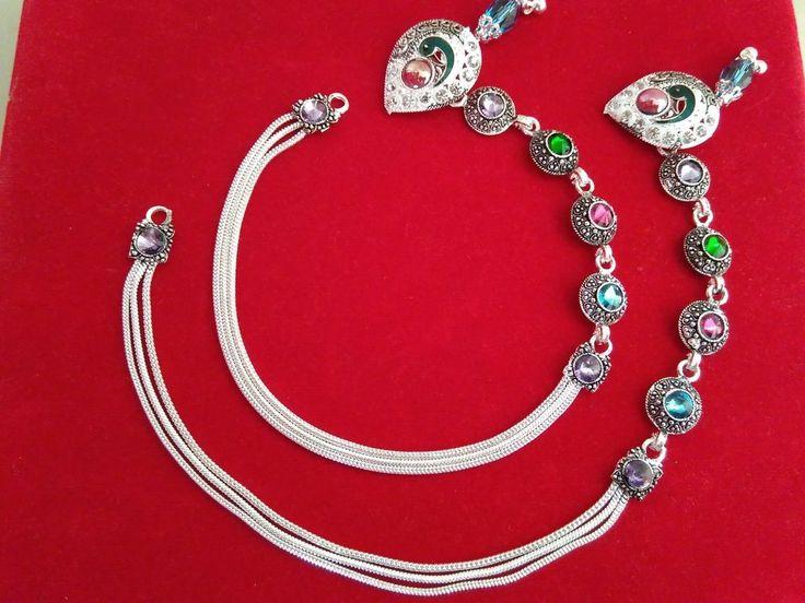 ANKLET PAIR Antique Silver Belly dance Kuchi Gypsy Banjara Pagan Gothic Jewelry #panassh