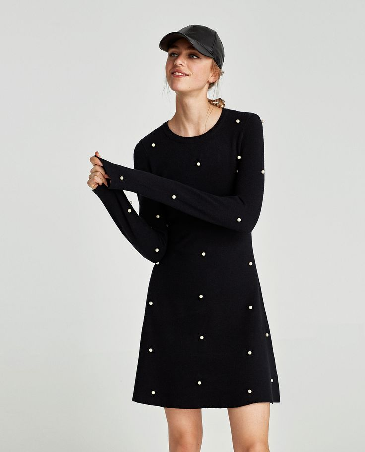 SKATER DRESS WITH PEARL BEADS