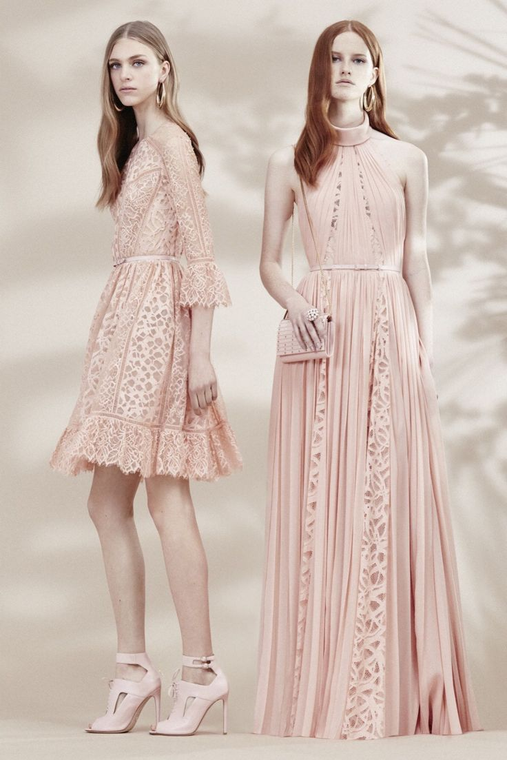 Elie Saab Resort 2016 Fashion Show  Dress on right. Beautiful color and interesting paneling. Not a fan of the lace(?) pattern.