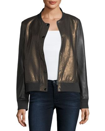 Sueded+Leather+Bomber+Jacket+by+Neiman+Marcus+Leather+Collection+at+Neiman+Marcus.