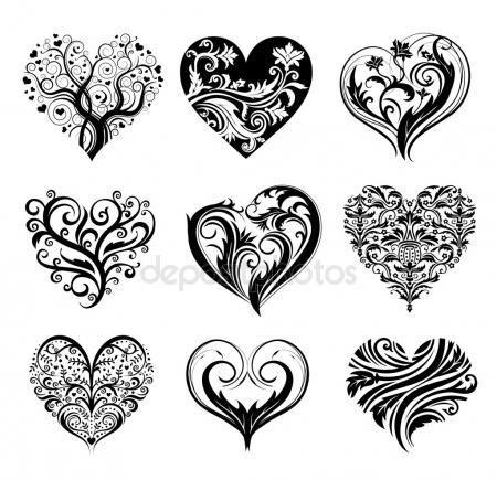 vector tatuering hjärtan | zentangle art | pinterest | tatouage