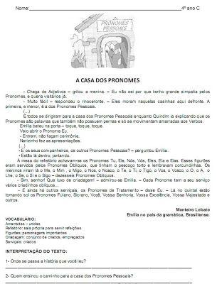 Blog Escola Atividade Casa Dos Pronomes Com Imagens