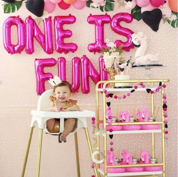 These Metallic Letters Balloons Are Great For Photoshoots Weddings Bridal Showers Ba Girl Birthday Themes Baby Girl First Birthday Girls Birthday Party Themes