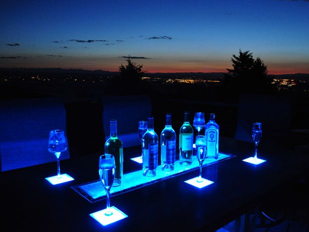 LED Concrete Patio Table with Built-in Beverage Cooler. Cast the tabletop and trough in one piece, then make it shine.