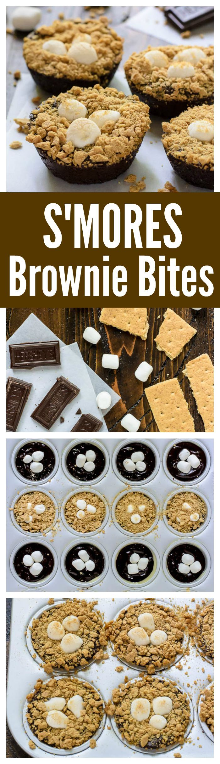 How to make S'mores Brownie Bites in a mini muffin tin. Gooey brownies, toasty marshmallows and graham crackers. All of the s'mores flavor, no campfire required!