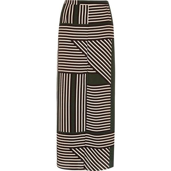 River Island Green stripe print maxi skirt (410 UAH) ❤ liked on Polyvore featuring skirts, green, elastic waist skirt, stripe skirt, long skirts, green striped maxi skirt and brown maxi skirt